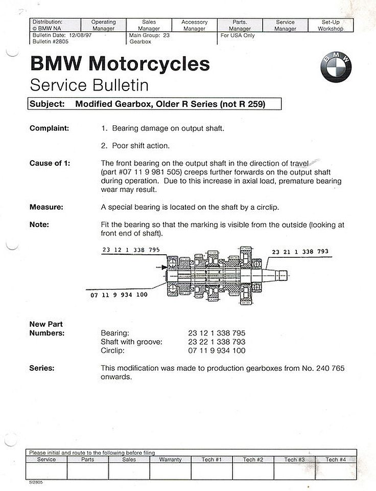 BMW Airhead motorcycle 4 and 5 speed transmissions